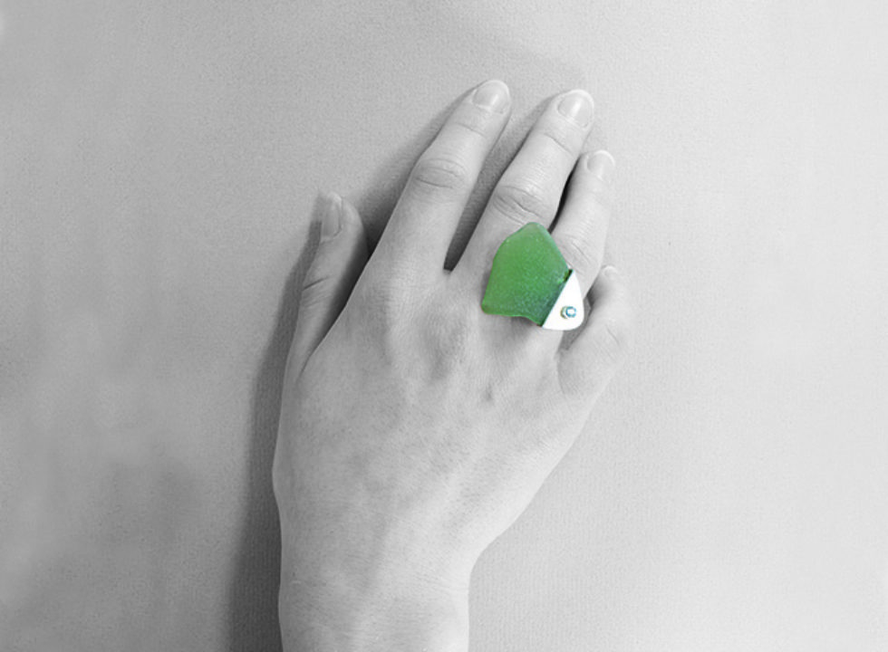pierścionek srebrny ze szkłem morskim MMP18cc