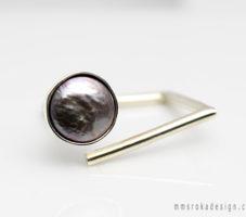 Kopnięty pierścionek z perłą MMP64 [na zamówienie]