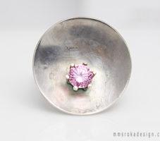 Pierścionek srebrny z różową cyrkonią MMP56