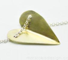 Naszyjnik srebrny serce złocone MMN12