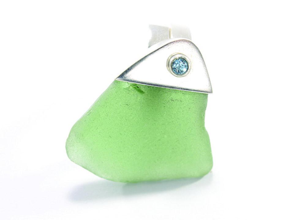 pierścionek srebrny ze szkłem morskim MMP18a