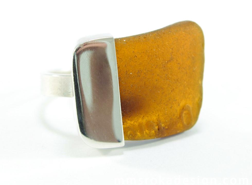 pierścionek srebrny ze szkłem morskim MMP23a