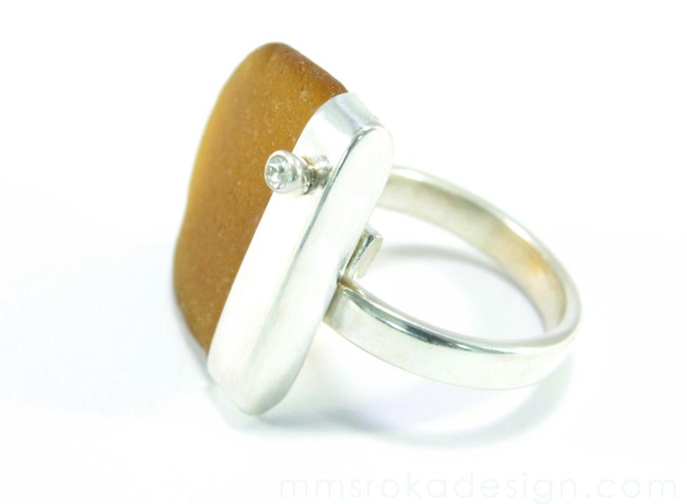 Pierścionek srebrny ze szkłem morskim MMP40_1