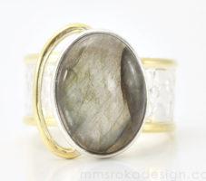 Obrączka srebrna z labradorytem MMP89