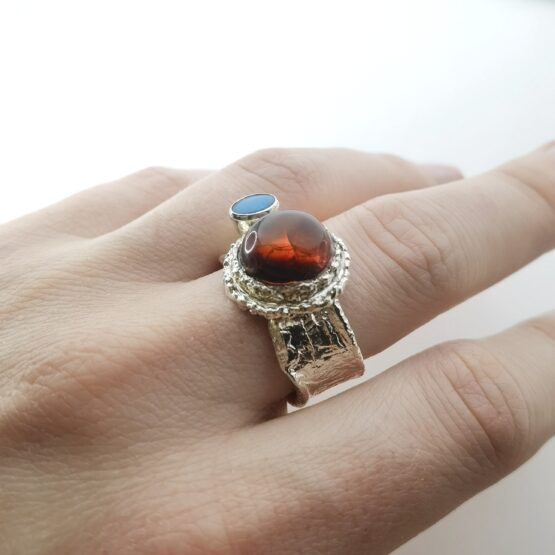pierścionek z bursztynem i opalem