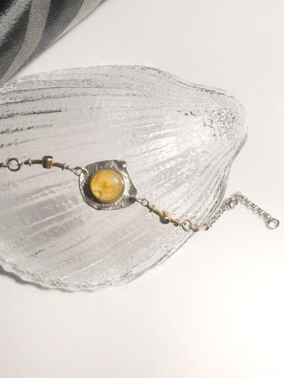 bransoletka z bursztynem i szafirami