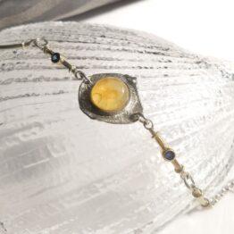 bransoletka z bursztynem i szafirami mm sroka design